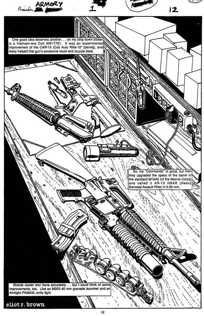 Colt XM177EI - The Punisher Armory No. 1, July, 1990, Page 12