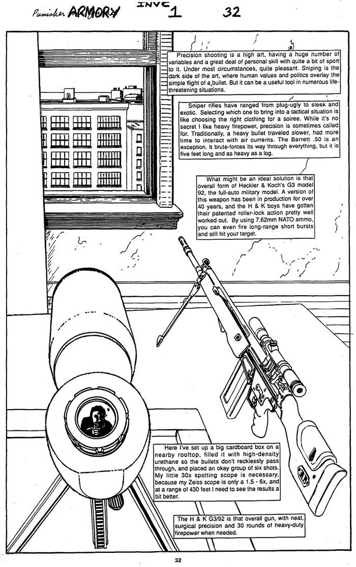Heckler & Koch G3/92 & Zeiss Scope - The Punisher Armory No. 1, July, 1990, Page 32