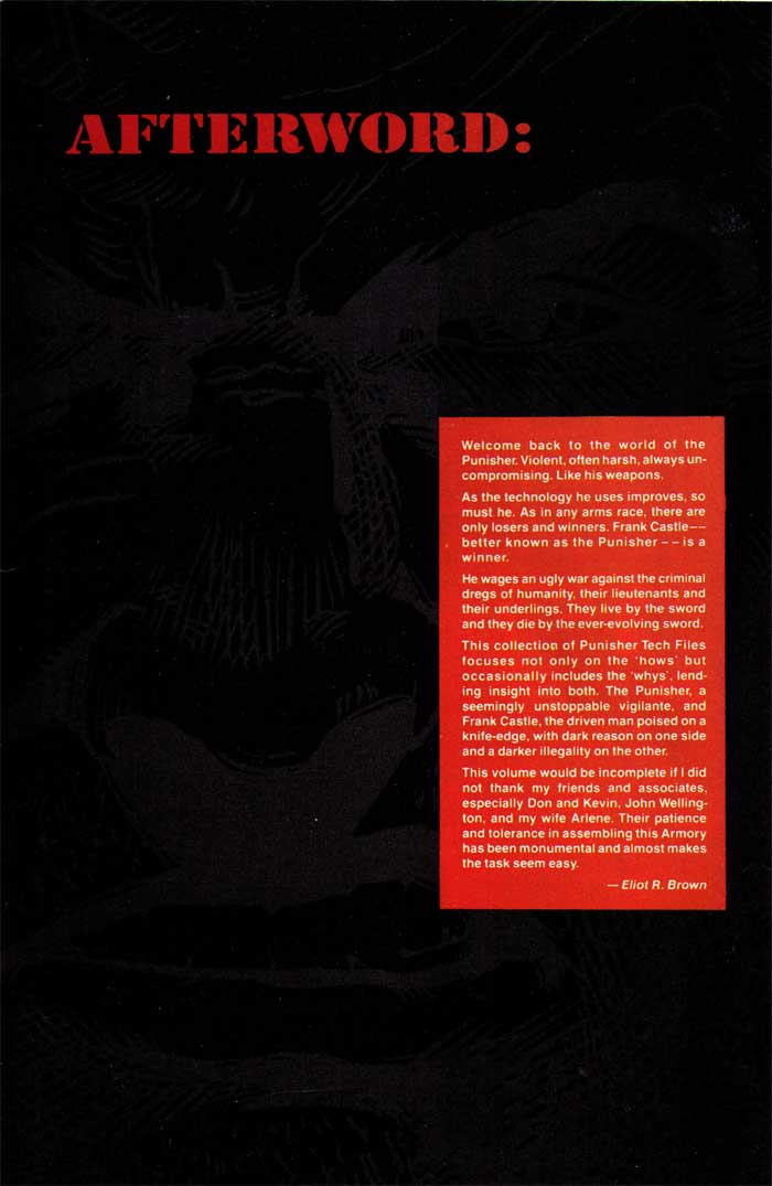 Afterward Inside Back Cover - The Punisher Armory No. 2, June, 1991
