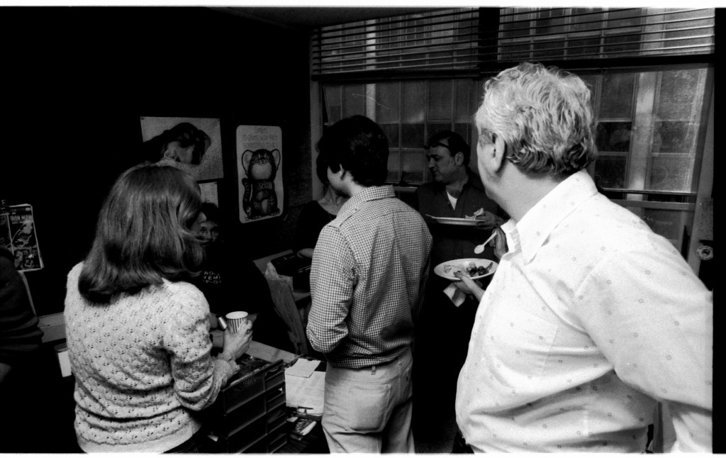 Some preliminary chit-chat. Linda Florio in front of a sitting Rick Parker. Jack Morelli and Jack Abel (in the white shirt), to the rear in the murk, Danny Crespi talking to some unidentified gal.