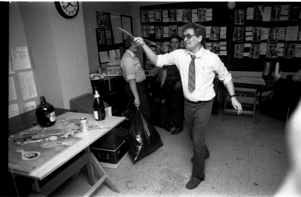 "Denny O'Neill demonstrates the rarely-seen ""Kill The Intern"" volley! (Sorry, can't recall who they were! But they lived... this time!)"