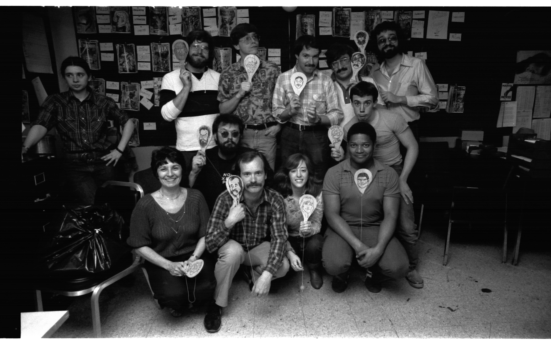 The All-Winners Squad! The Only Annual Wack-Offs comes to a thrilling close. No one knows who that Intern is at extreme Left, sorry. Back row: Ron Zalme, Mike Carlin, Joe Albelo, Tom DeFalco, Jim Salicrup. Middle-ish row: Rick Parker and Jack Morelli. Bottom row: Virginia Romita, Mark Gruenwald, Linda Florio and Lance Tooks. Congratulations all!