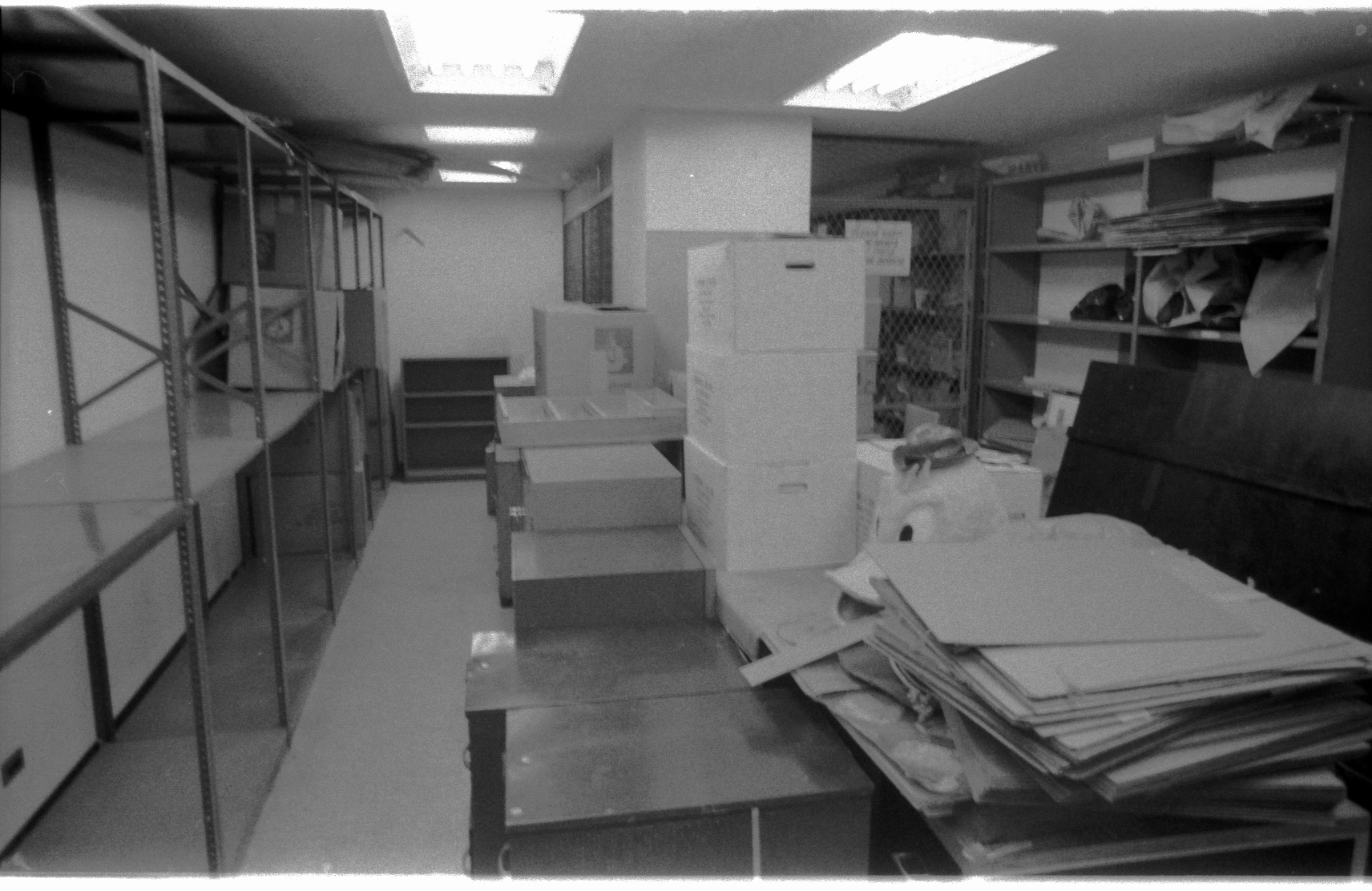 The supernaturally neat 9th Floor mailroom at 575 Madison Ave-- packed up neatly in a box, like never before. Sharp-eyed Marvelites may note a certain duck head amid the boxes... Marvel had a line of costumes worn by poor devils who appeared in them at store openings and sporting events. Some crazy idea of Marketing! This was, of course, a Howard the Duck costume! The business end of Marvel was up on 9.
