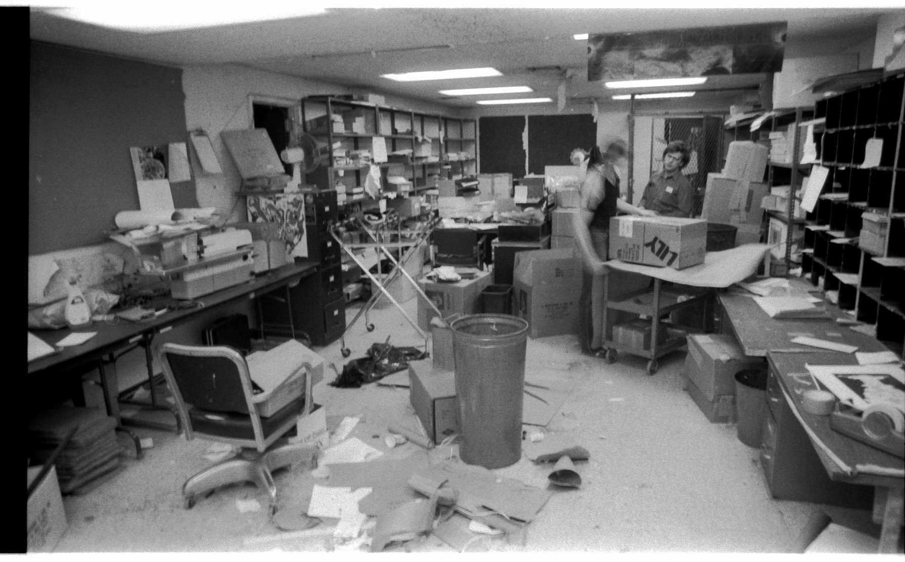 This was the 6th Floor mailroom-- a little behind the 9th Floor... Marvel's editorial offices were on 6. A ghostly Tony Matias and an all-too solid John Galvin continue to bulldoze!