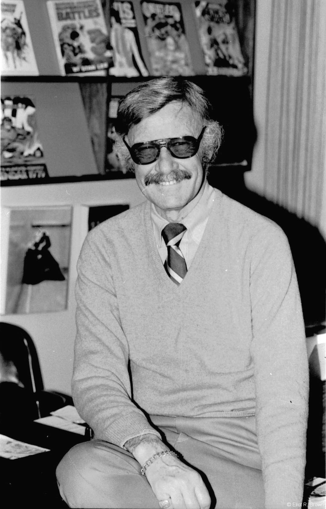 Stan Lee, idea man, college lecturer and spiffy moustach wearer. Some time in either late 1979 or 1980, Stan moved himself off to California. Stan was always interested in movies and movie-making. Marvel Productions did some big biz for a while in animation. Here he is with a trademark big smile!