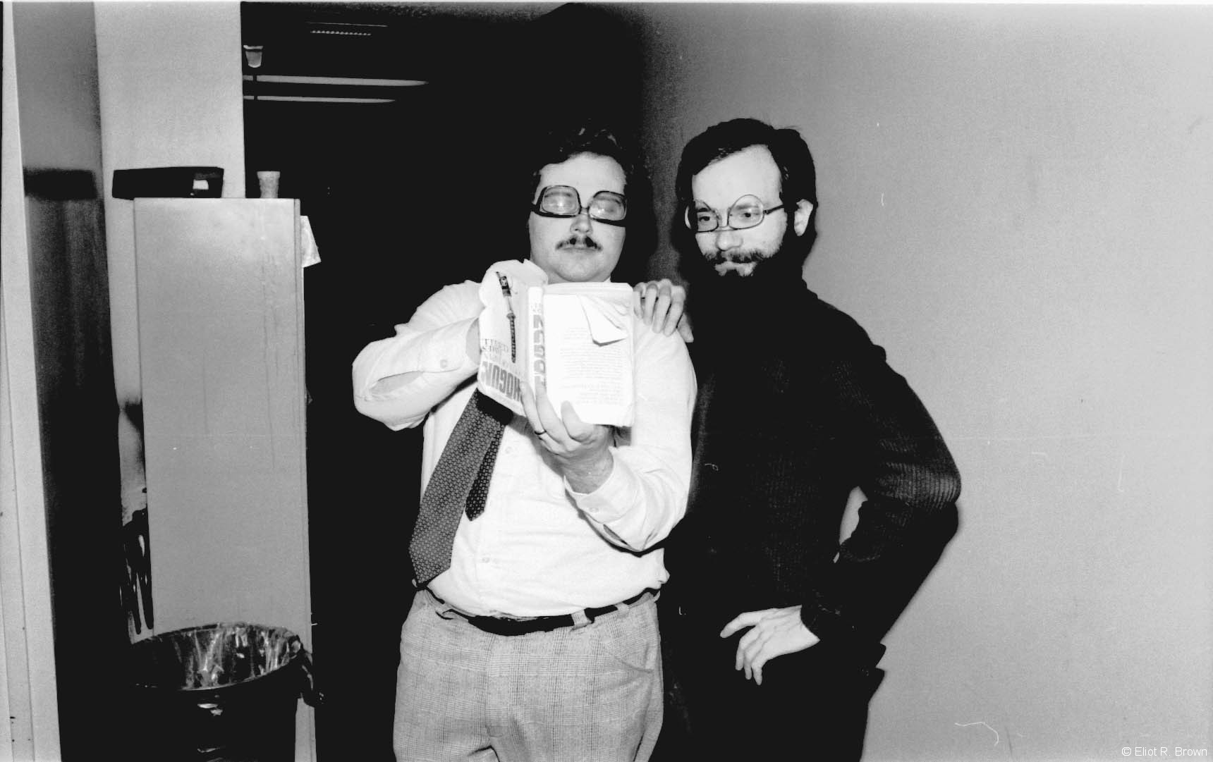 Classic Rick Marschall upside-down-glasses gag, with willing go-along, Mark Gruenwald. Rick was in charge of the b&w magazines and produced Weird World. Rick came from newspapers and is a recognized expert and resource for newspaper strips down the ages. He was also one funny person.