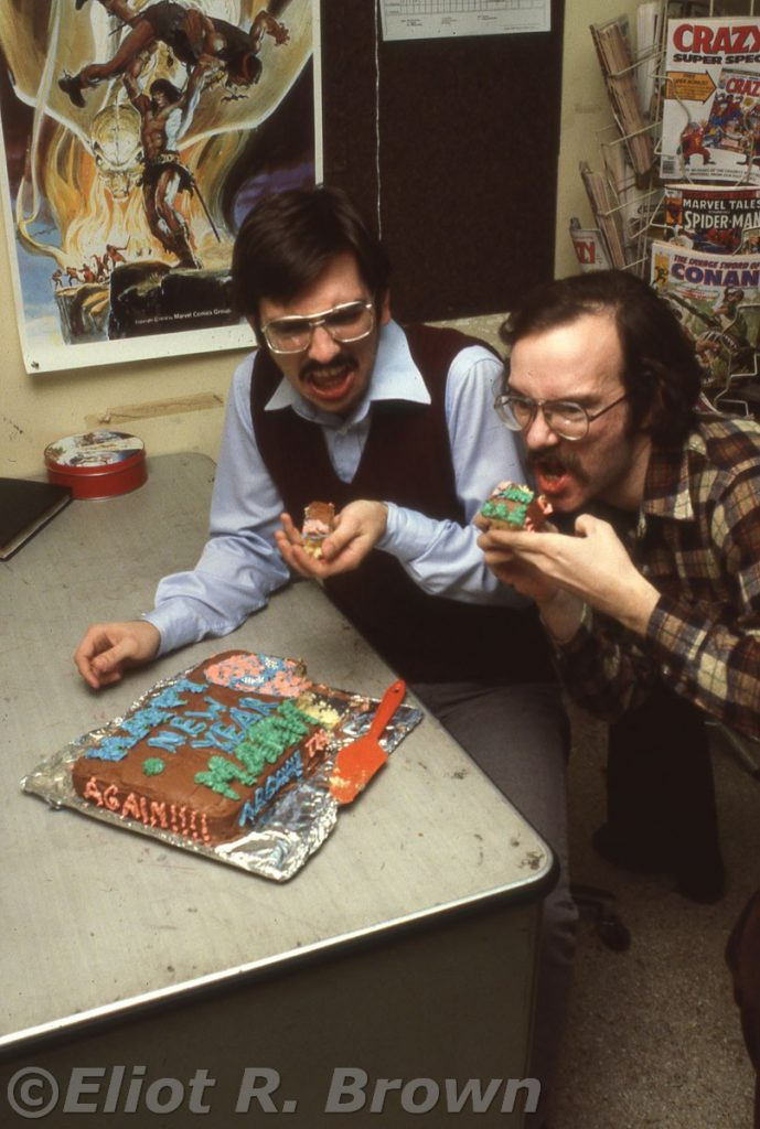Roger Stern, Mark Gruenwald eat cake at Marvel Editorial 1979, 80