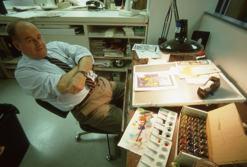 Legendary staff color correcting Colorist George Roussos. This is my favorite picture of George. We all knew him as being very reserved, quiet, don't make any fuss sort of a fellow. But George had a very playful sense of humor.