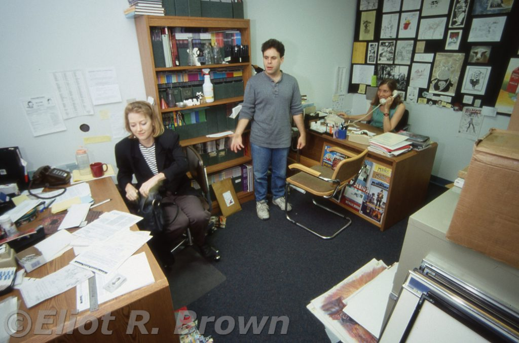 Dude! Where's my office? Asks Dave Wohl of Paula Foye and Marie Javins.