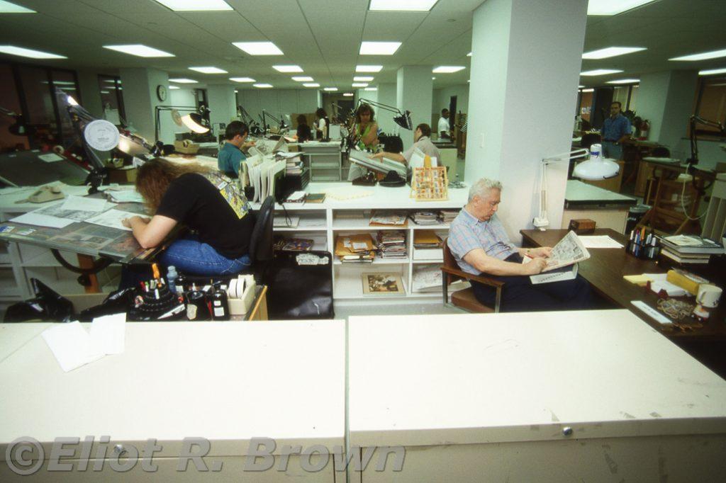 Bullpenner Production Artist Dave Sharpe and legendary inker staff Proofreader Jack Abel. Jack is proofing The Daily News.